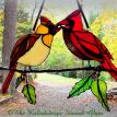 "Male & Female Cardinal Holly Branch 13"" x 8"""